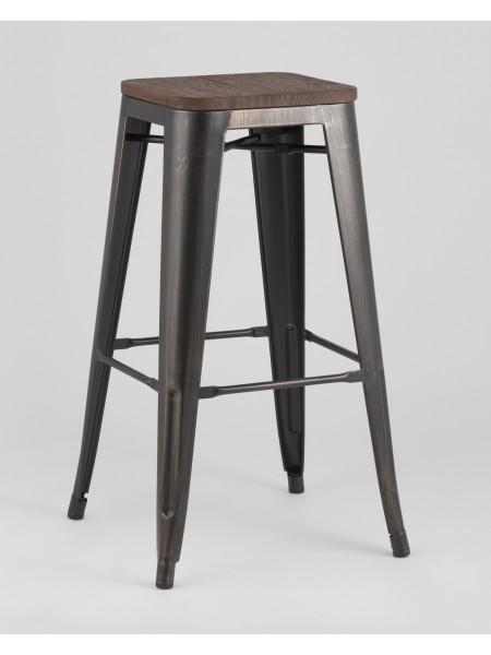Барный стул WOOD черный патина золото
