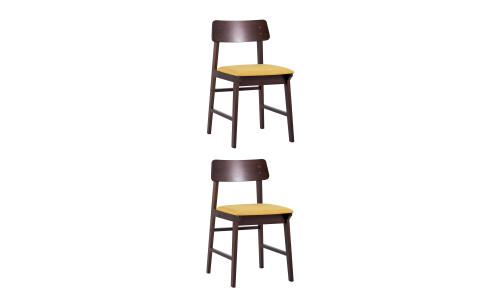 Комплект стульев ODEN мягкая тканевая желтая обивка