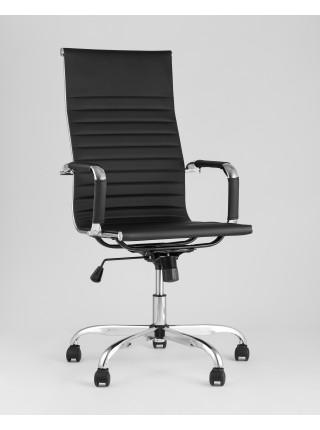 Копмьютерное кресло City офисное с подлокотниками черное экокожа хром