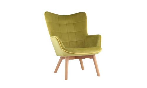 Кресло Манго оливковое обивка вельвет с деревянными ножками