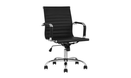 Офисное кресло TopChairs City S черное в обивке из экокожи