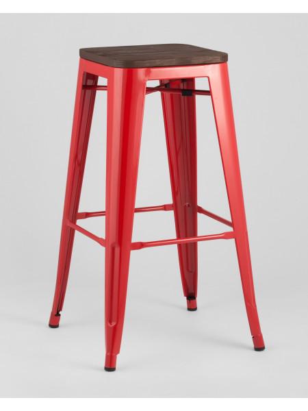 Барный стул WOOD красный глянцевый