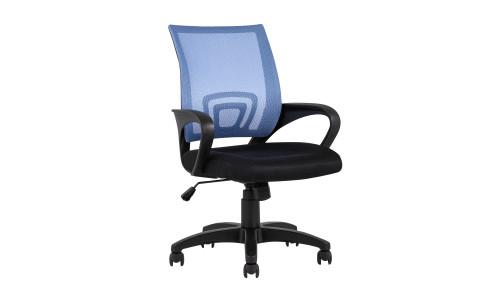 Офисное кресло TopChairs Simple голубое в обивке из текстиля с сеткой