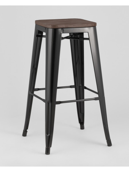 Барный стул WOOD черный глянцевый
