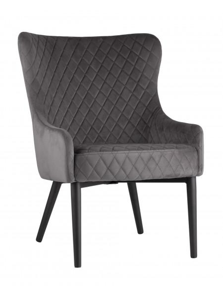 Кресло Ститч велюр серое с черными металлическими ножками