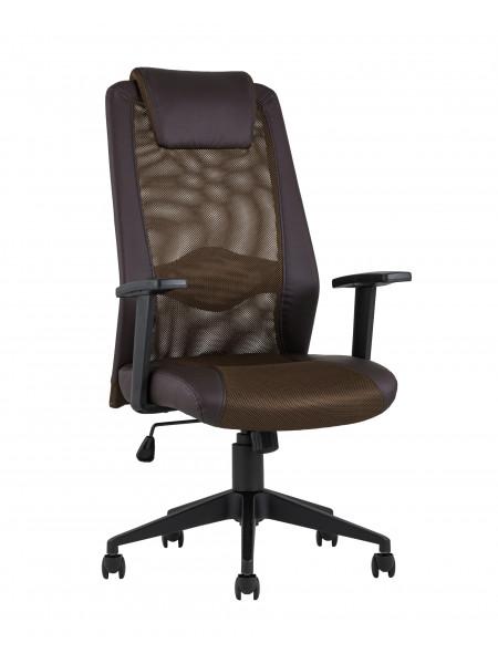 Офисное кресло TopChairs Studio коричневое в обивке из экокожи и текстиля с сеткой