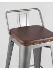 Барный стул SOFT серебристый экокожа