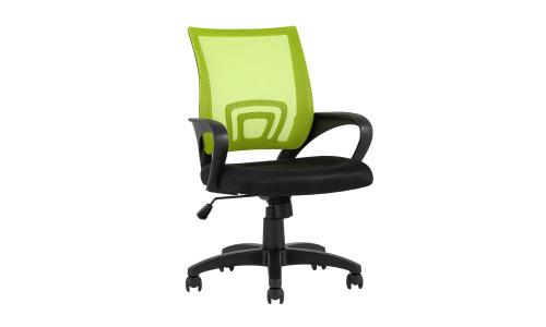 Офисное кресло TopChairs Simple зеленое в обивке из текстиля с сеткой