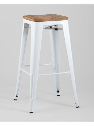 Барный стул Tolix WOOD белый глянцевый
