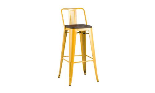 Барный стул Tolix WOOD со спинкой желтый
