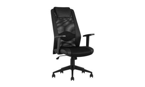 Офисное кресло TopChairs Studio черное в обивке из экокожи и текстиля с сеткой
