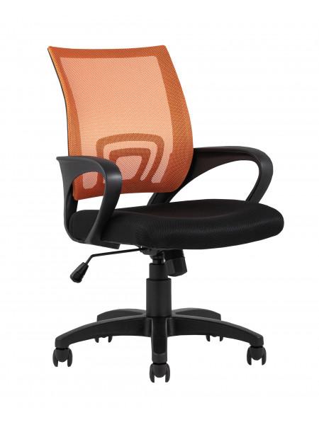 Офисное кресло TopChairs Simple оранжевое в обивке из текстиля с сеткой