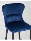 Барный стул Лилиан велюр синий мягкая обивка