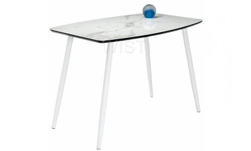 Стол стеклянный Эмма белый мрамор / белый