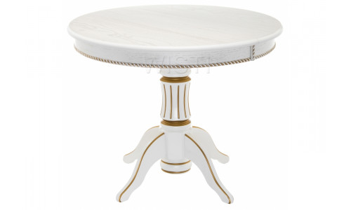 Стол деревянный Павия 130 молочный с золотой патиной