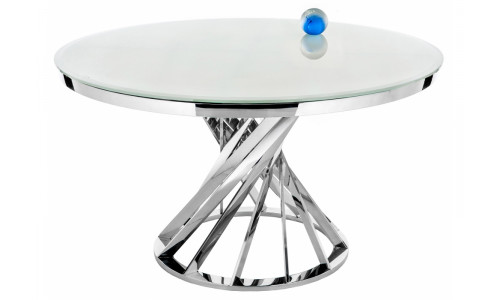Стол стеклянный Twist steel / white<br />